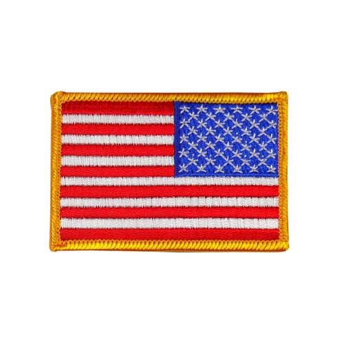 """EAF-3-Gold - USA - American Reversed Flag Embroidered Patch - Gold Border - 2"""" x 3"""""""