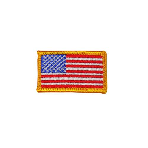 """EAF-1-Gold - 2"""" x 1 1/8"""" Embroidered American Flag Patch - Gold Border"""
