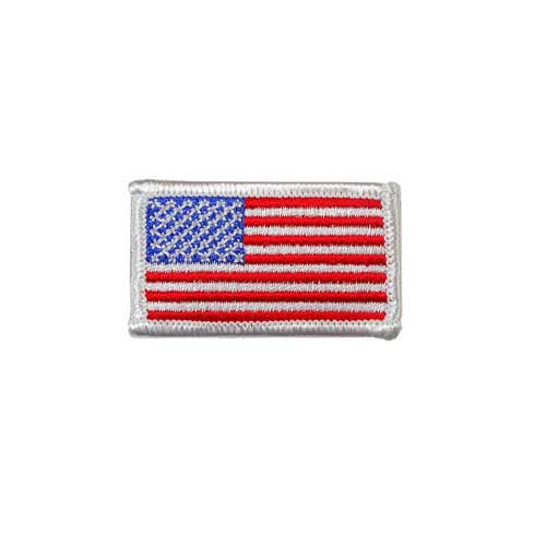 """EAF-1-White - USA - American Flag Embroidered Patch - White Border - 2"""" x 1 1/8"""""""