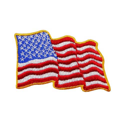 """WF-02 - USA - American Waving Flag Embroidered Patch - 2"""" x 2 3/4"""""""