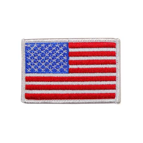 "EAF-2-White - USA - American Flag Embroidered Patch - White Border - 2"" x 3"""