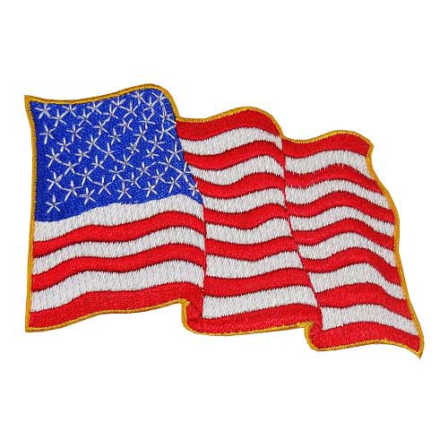 "WF-03 - USA - American Waving Flag Embroidered Patch - 2 3/4"" x 4 1/4"""