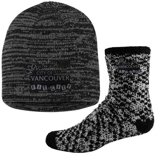 FFuzz-KMC-Combo - Fashion Fuzzy Feet and Marled Knit Beanie Cap Combo