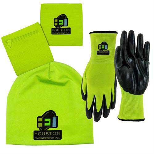 Hi-Vis-Combo - Hi-Vis 3 in 1 Band-Nitrile Gloves- Performance Beanie Combo