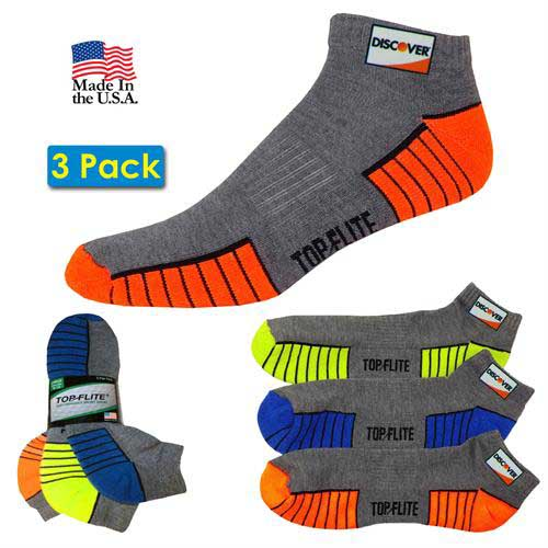 TF-957 - 3 Pack Top Flite Low Cut Half Cushion Socks