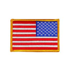 "2"" x 3"" Embroidered Reversed American Flag Patch - Gold Border"
