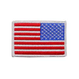 "USA - American Reversed Flag Embroidered Patch - White Border - 2"" x 3"""