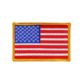 "2"" x 3"" Embroidered American Flag Patch - Gold Border"