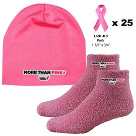 Performance Beanie, Fuzzy Feet, and Pink Embroidered Ribbon Stickers Combo