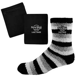 Fashion Fuzzy Feet and RFID Blocking Wristband Wallet Combo