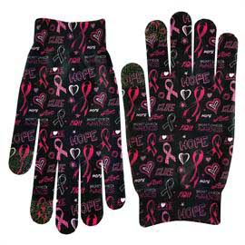 Full Color Pink Ribbon Image Text Gloves