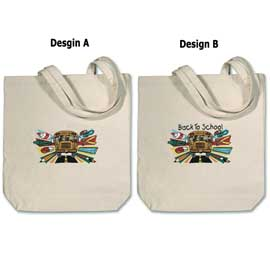 Embroidered Large Canvas Tote Bag