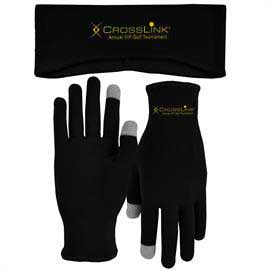 Lightweight Fleece Earband and Performance Runners Text Gloves Combo