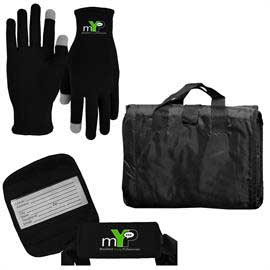 Picnic Blanket with Luggage Grip and Performance Runners Text Gloves Combo