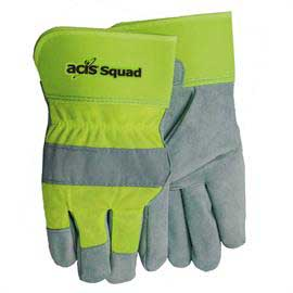 Hi-Vis Leather palm Suede Gloves