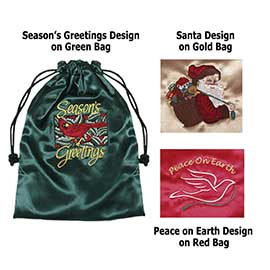 Embroidered Holiday Satin Gift Bags